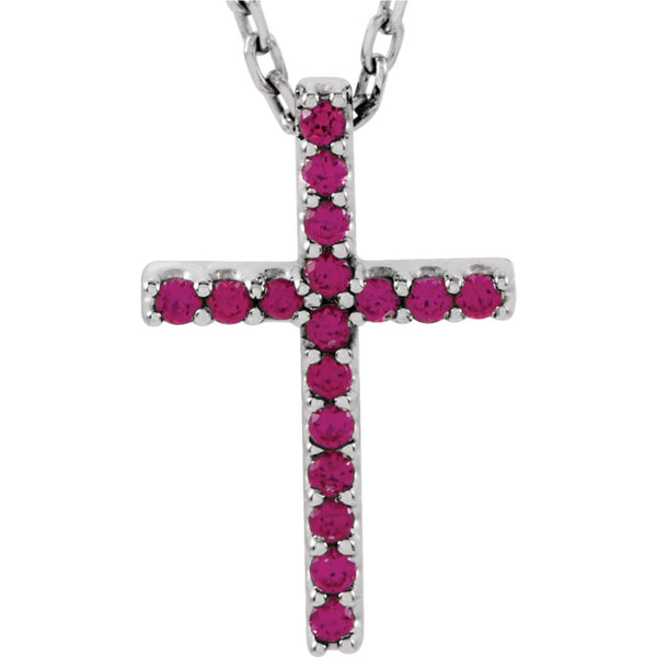 "14k White Gold Ruby Cross 16"" Necklace"