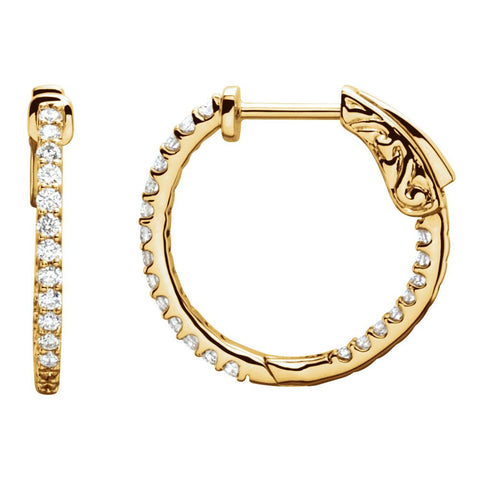 14k Yellow Gold 1/2 CTW Diamond Inside/Outside Hoop Earrings