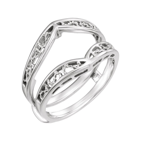 Ring Guard for Bridal Engagement Ring in 14K White Gold ( Size 6 )