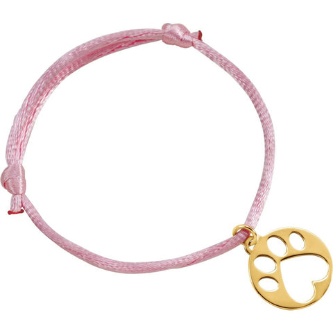 14K Yellow Gold Pink Satin Cord Adjustable Bracelet With Paw Charm