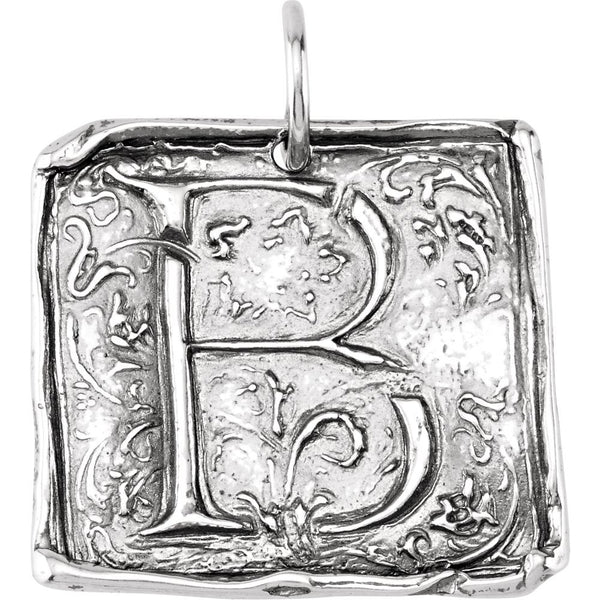 "Sterling Silver Initial ""B"" Vintage-Style Pendant"