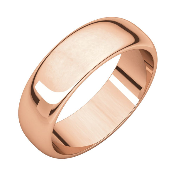 10k Rose Gold 6mm Half Round Wedding Band, Size 12
