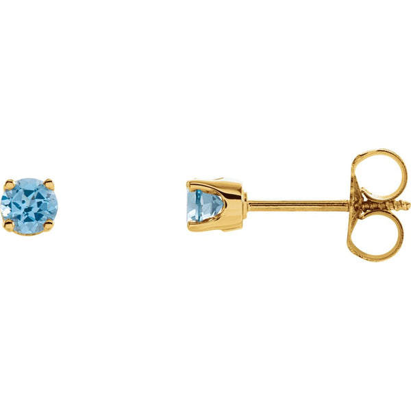 14k Yellow Gold Swiss Blue Topaz Youth Earrings