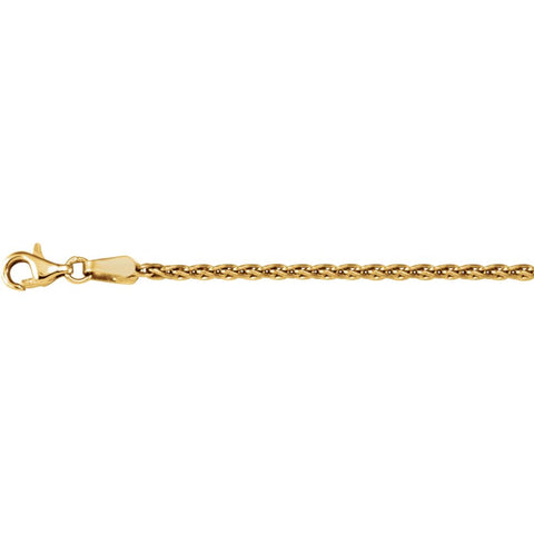 "18k Yellow Gold 1.9mm Wheat 18"" Chain"