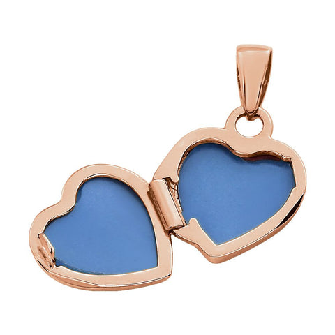 14k Rose Gold Heart Embossed Bow Locket