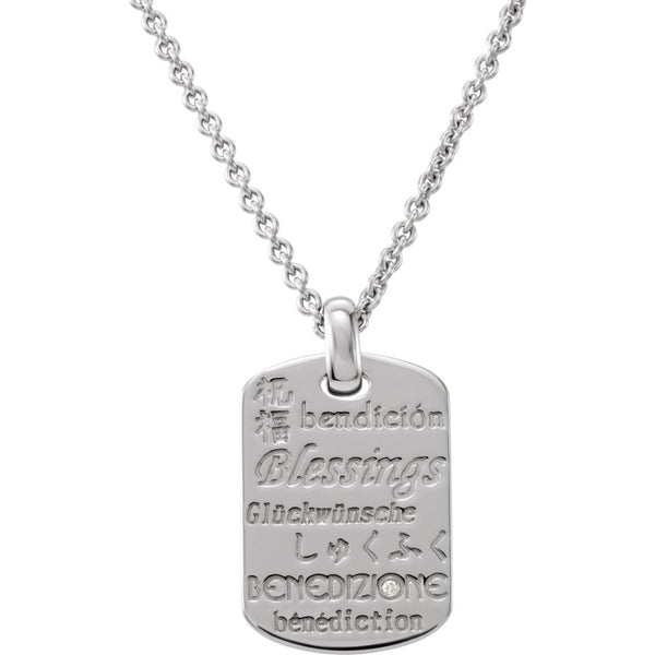 Sterling Silver .010 CTW Diamond Blessings 18