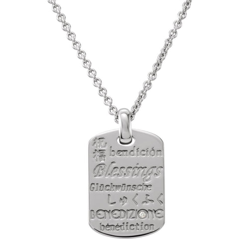 26.01X18.00 mm Blessings Necklace with Diamond/Rhodium Plate in Sterling Silver