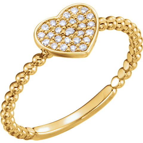 14k Yellow Gold 1/8 CTW Diamond Heart Bead Ring, Size 7