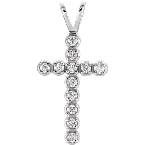 14K White Gold 1/8 CTW Diamond Cross Pendant