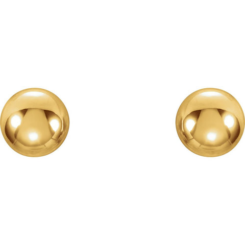 14k Yellow Gold 4mm Youth Ball Stud Earrings