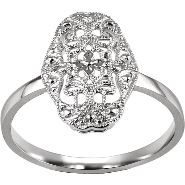 14k White Gold Filigree Ring Mounting, Size 7