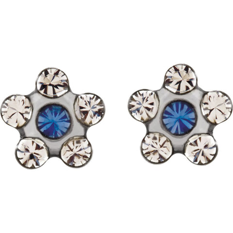 Flower Accented Inverness Piercing Earrings