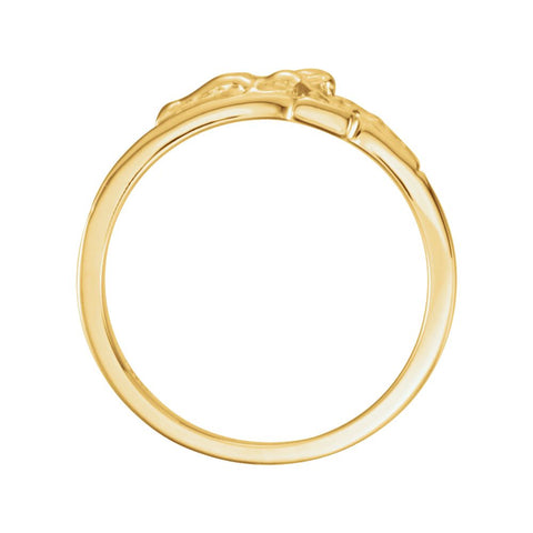 14k Yellow Gold Men's Crucifix Chastity Ring Size 8