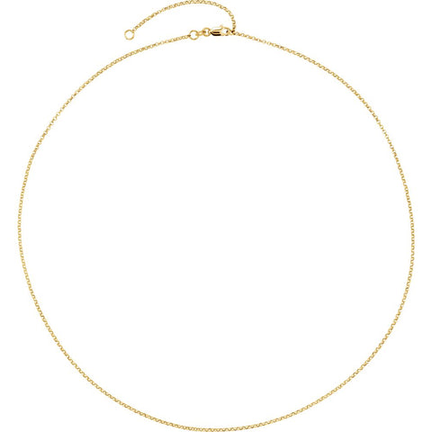 "Sterling Silver 18K Yellow Gold Plated 1.5mm Adjustable Rolo 18-20"" Chain"