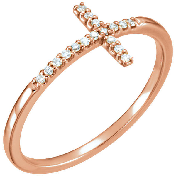 14k Rose Gold .085 CTW Diamond Sideways Cross Ring, Size 7