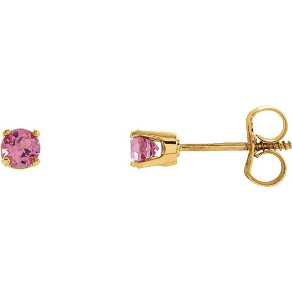 14k Yellow Gold Imitation Pink Tourmaline Youth Earrings