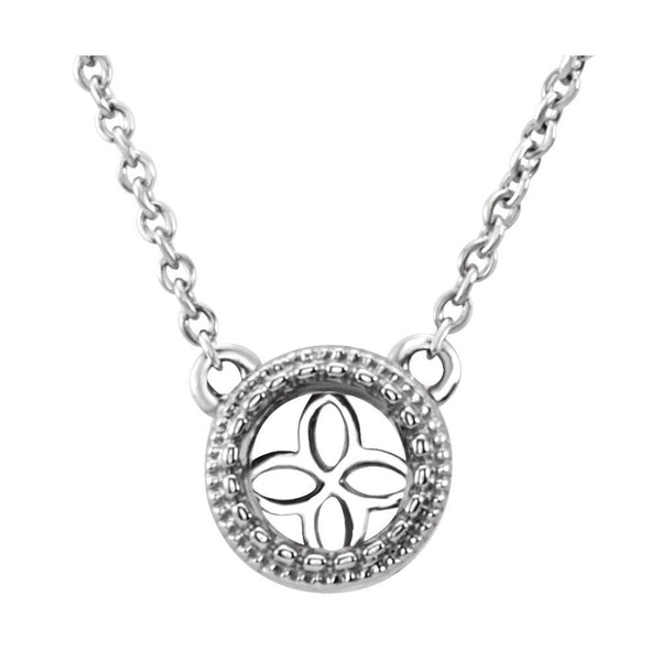 "14k White Gold 5mm Round Mounting with 18"" Necklace"