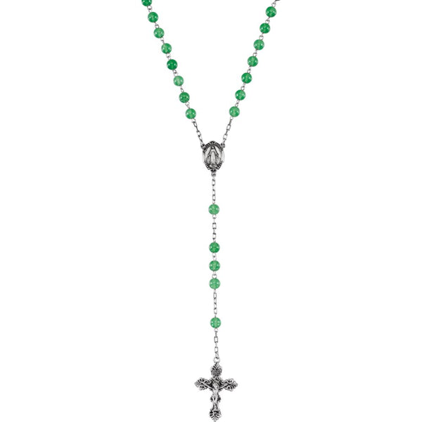 Sterling Silver Green Jadeite Rosary