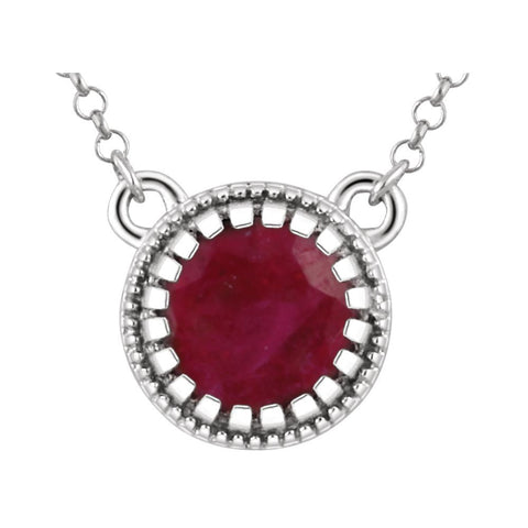 "14k White Gold Ruby ""July"" 18"" Birthstone Necklace"