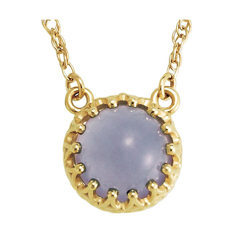 "14k Yellow Gold 8mm Round Blue Chalcedony 18"" Necklace"