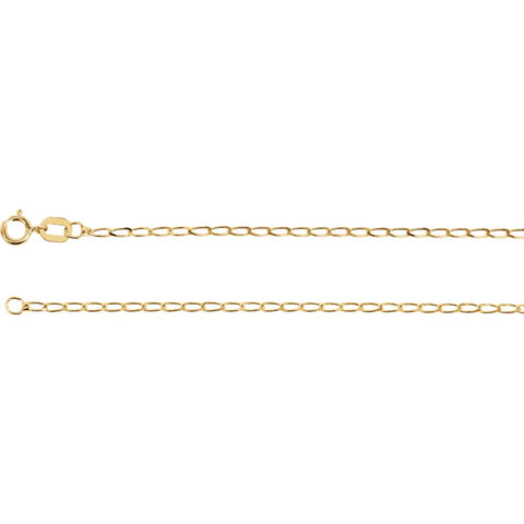"14k Yellow Gold 1.25mm Solid Curb Chain 16"" Chain"