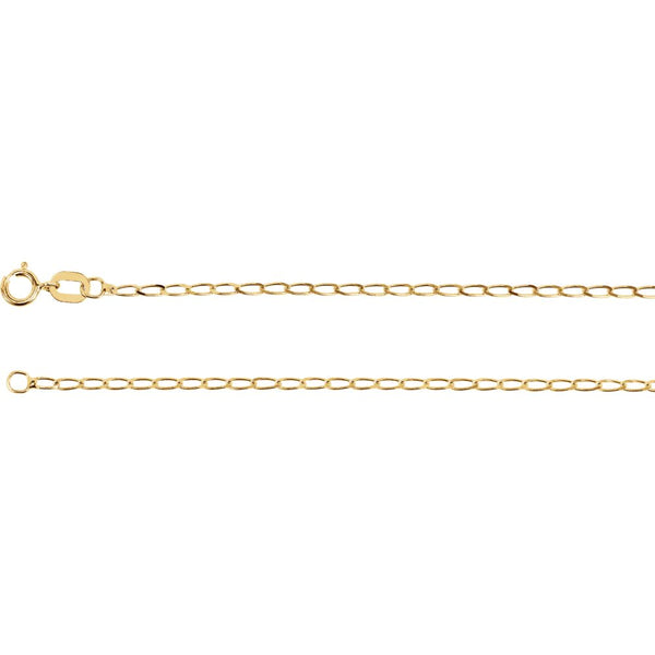 "14k Yellow Gold 1.25mm Solid Curb Chain 24"" Chain"