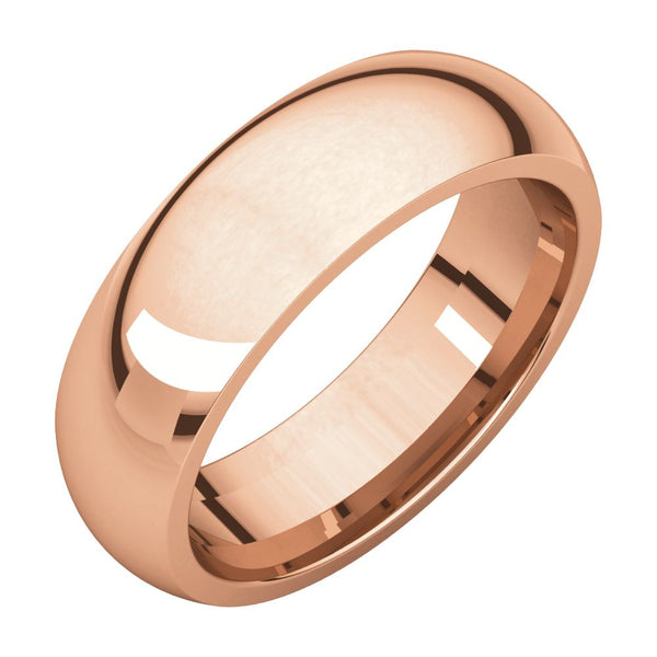 10k Rose Gold 6mm Comfort Fit Band, Size 10
