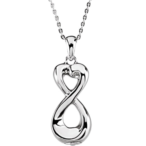 Infinite Love Ash Holder Pendant with Box in Sterling Silver