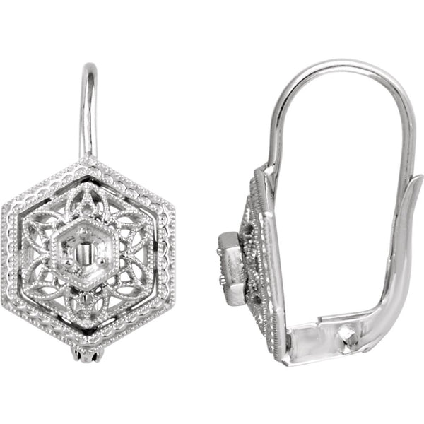 14k White Gold Filigree Design Earring Mountings