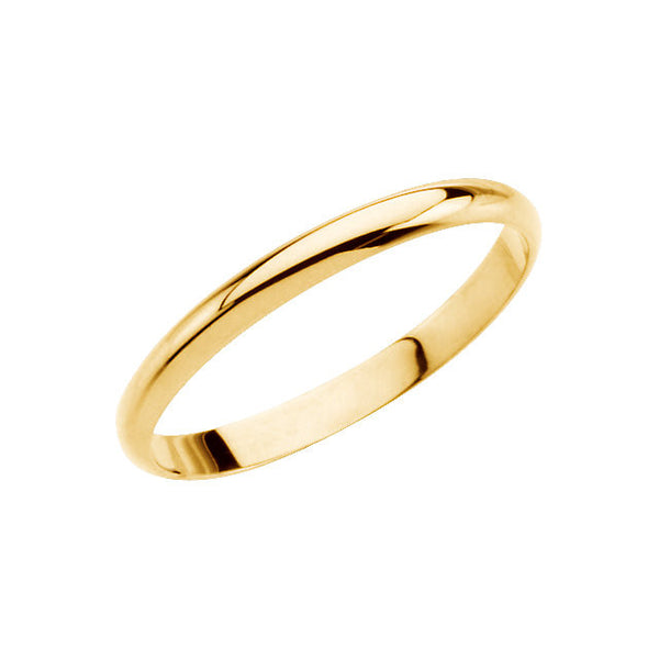 14k Yellow Gold Youth Band Size 2