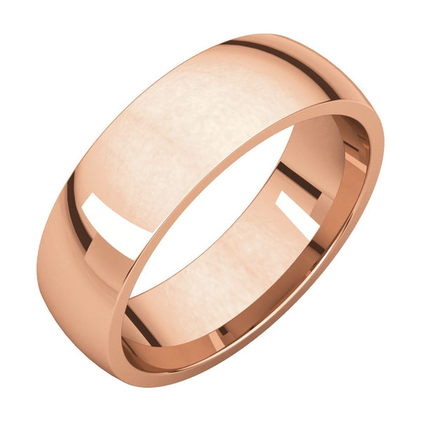 10k Rose Gold 6mm Light Comfort Fit Band, Size 8
