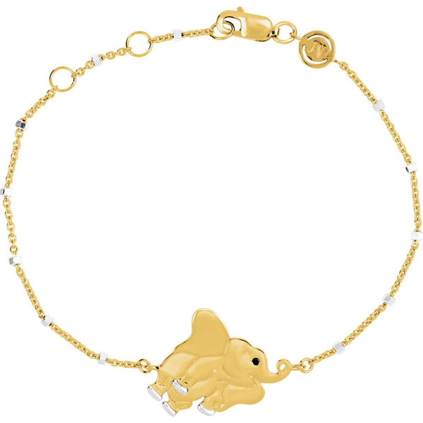 "18k Yellow Gold Vermeil Elephant 7.5"" Bracelet for Strength"