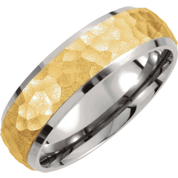 Titanium & Gold Immerse Plated 7mm Hammered Finish Beveled Edge Band Size 13
