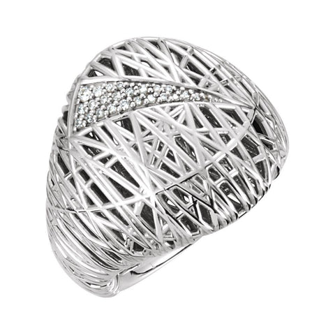 14K White Gold 1/8 CTW Diamond Nest-Design Ring (Size 6)