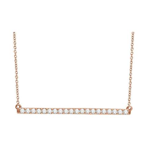 14k Rose Gold 1/2 ctw. Diamond Bar 16-18-inch Necklace