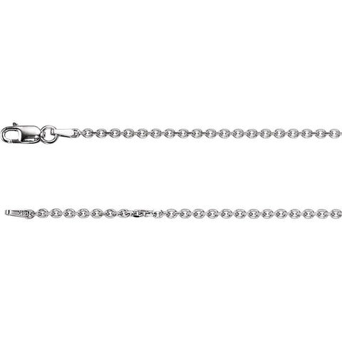 "14k White Gold 1.75mm Solid Diamond-Cut Cable 7"" Chain"