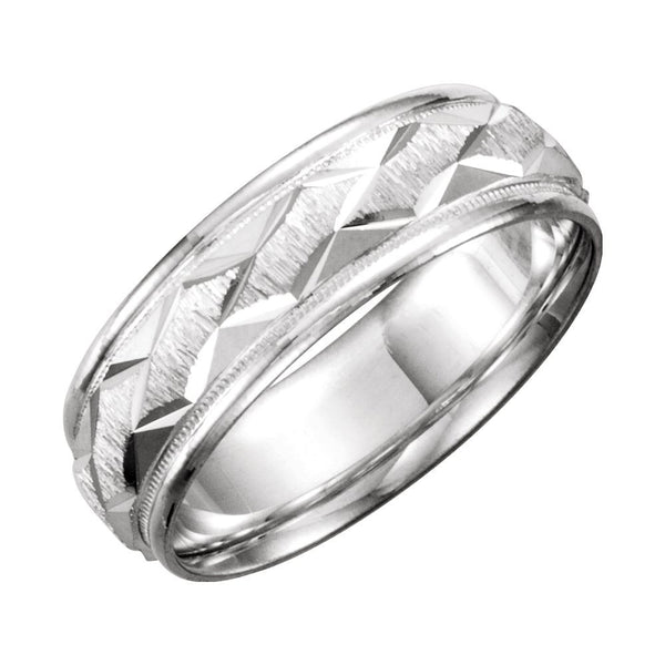 Continuum Sterling Silver 7mm Comfort-Fit Patterned Band Size 11