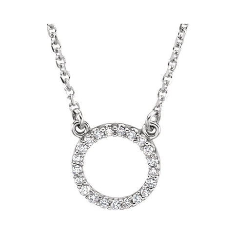 1/10 CTTW Diamond Circle Necklace in 14k White Gold ( 16-1/2 Inch )