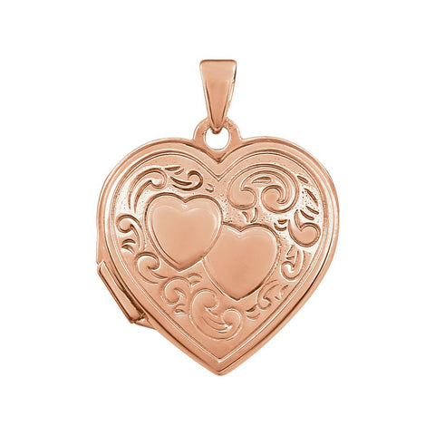 Rose Gold Plated Sterling Silver Double Heart Locket