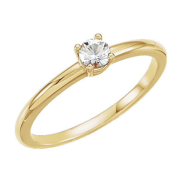 "14k Yellow Gold White Sapphire ""April"" Youth Birthstone Ring, Size 3"