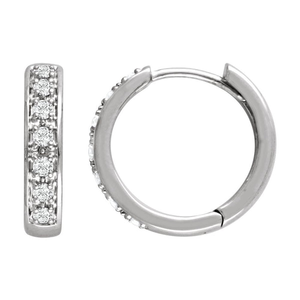 14k White Gold 1/3 CTW Diamond Hoop Earrings