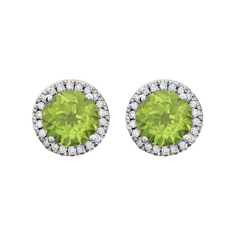 14k White Gold Peridot & 1/8 CTW Diamond Earrings