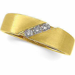 14k Yellow Gold 1/5 CTW Diamond Men's Wedding Band , Size 11