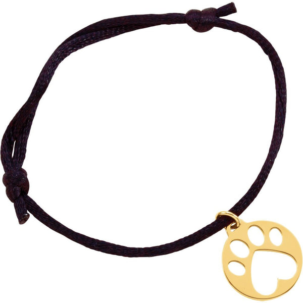 14k Yellow Gold Black Satin Cord Adjustable Bracelet with Paw Charm