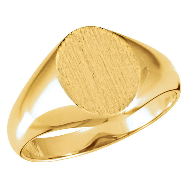 10k Yellow Gold 8x10mm Oval Signet Ring , Size 6