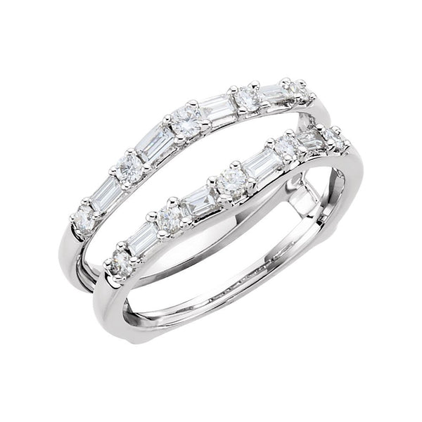 14k White Gold 1/2 CTW Diamond Ring Guard, Size 7