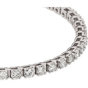 "14k White Gold 4 1/2 CTW Diamond Line 7.25"" Bracelet"