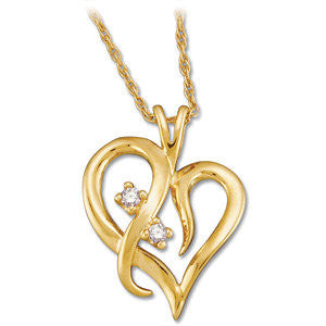 14k Yellow Gold .03 CTW Diamond Heart Necklace