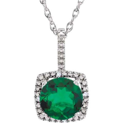 "Sterling Silver 7mm Lab-Grown Emerald & .015 CTW Diamond 18"" Necklace"