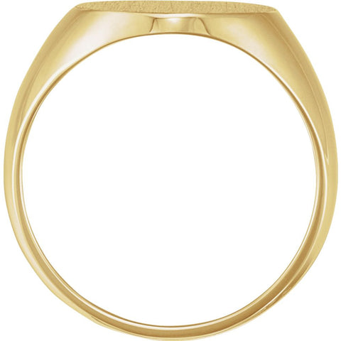 18k Yellow Gold 16x14mm Solid Oval Men's Signet Ring, Size 11